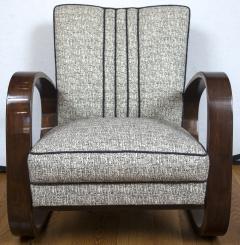 Pair of Sleek Mid Century Halabala Style Lounge Chairs - 925073
