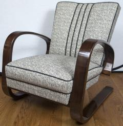 Pair of Sleek Mid Century Halabala Style Lounge Chairs - 925075