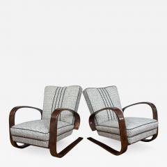 Pair of Sleek Mid Century Halabala Style Lounge Chairs - 926217
