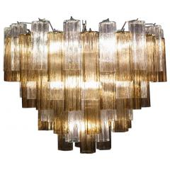 Pair of Smoke and Clear Murano Glass Tronchi Chandelier or Ceiling Light - 2070887