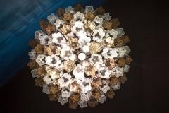 Pair of Smoke and Clear Murano Glass Tronchi Chandelier or Ceiling Light - 2070889