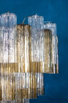 Pair of Smoke and Clear Murano Glass Tronchi Chandelier or Ceiling Light - 2070890