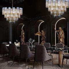 Pair of Smoke and Clear Murano Glass Tronchi Chandelier or Ceiling Light - 2070893