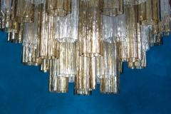Pair of Smoke and Clear Murano Glass Tronchi Chandelier or Ceiling Light - 2070895