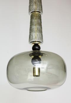 Pair of Smoked Taupe Grey Murano Glass and Brass Pendants Italy 2020 - 1614591