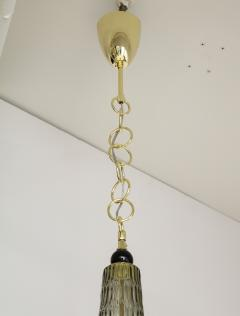 Pair of Smoked Taupe Grey Murano Glass and Brass Pendants Italy 2020 - 1614596