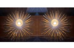 Pair of Space Age Brass Green Murano Glass Half Sputnik Flush Mounts Sconces - 1644254