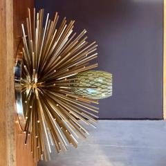 Pair of Space Age Brass Green Murano Glass Half Sputnik Flush Mounts Sconces - 1644259