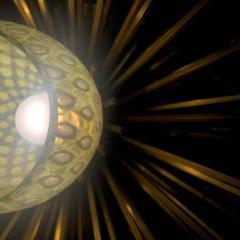 Pair of Space Age Brass Green Murano Glass Half Sputnik Flush Mounts Sconces - 1644279
