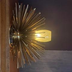 Pair of Space Age Brass Green Murano Glass Half Sputnik Flush Mounts Sconces - 1644280