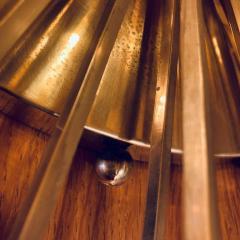 Pair of Space Age Brass Green Murano Glass Half Sputnik Flush Mounts Sconces - 1644284