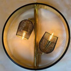 Pair of Space Age Round Brass Sconces with Adjustable Black Iron Lampshades - 1644253