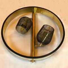 Pair of Space Age Round Brass Sconces with Adjustable Black Iron Lampshades - 1644272