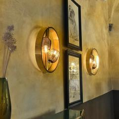 Pair of Space Age Round Brass Sconces with Adjustable Black Iron Lampshades - 1644273