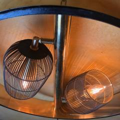 Pair of Space Age Round Brass Sconces with Adjustable Black Iron Lampshades - 1644298