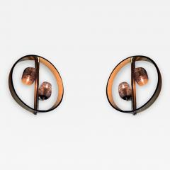 Pair of Space Age Round Brass Sconces with Adjustable Black Iron Lampshades - 1648016