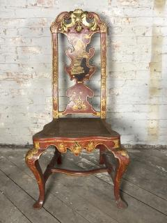 Pair of Spanish early 18th Century Red Lacquer Chairs in the English Taste - 2018311