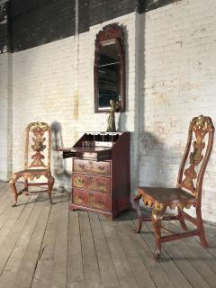 Pair of Spanish early 18th Century Red Lacquer Chairs in the English Taste - 2018322