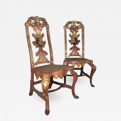 Pair of Spanish early 18th Century Red Lacquer Chairs in the English Taste - 2131811