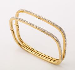 Pair of Square shape Diamond Bangle Bracelets - 1534923
