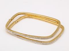 Pair of Square shape Diamond Bangle Bracelets - 1534928
