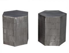 Pair of Steel Industrial Hexagon End Tables - 1997801