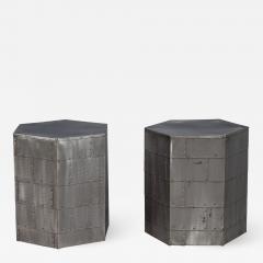 Pair of Steel Industrial Hexagon End Tables - 2131728