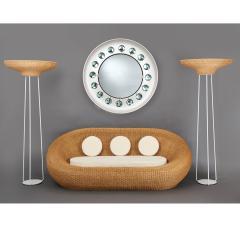 Pair of Stunning Floor Lamps in Woven Rattan - 1306678