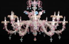 Pair of Sumptuous Pink and Heavenly Murano Glass Chandeliers 1990s - 1984166
