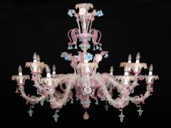 Pair of Sumptuous Pink and Heavenly Murano Glass Chandeliers 1990s - 1984168
