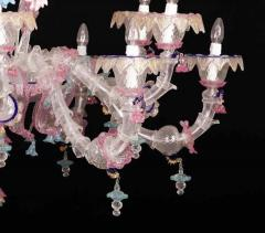 Pair of Sumptuous Pink and Heavenly Murano Glass Chandeliers 1990s - 1984169