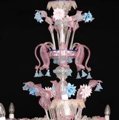 Pair of Sumptuous Pink and Heavenly Murano Glass Chandeliers 1990s - 1984171