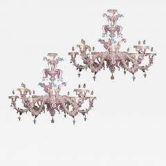Pair of Sumptuous Pink and Heavenly Murano Glass Chandeliers 1990s - 1985930