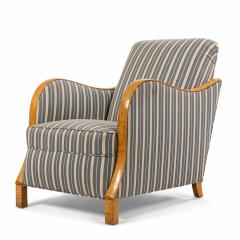 Pair of Swedish Biedermeier Striped Club Chairs - 1401727