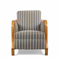 Pair of Swedish Biedermeier Striped Club Chairs - 1401728