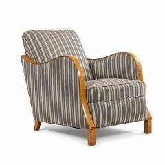 Pair of Swedish Biedermeier Striped Club Chairs - 1401729