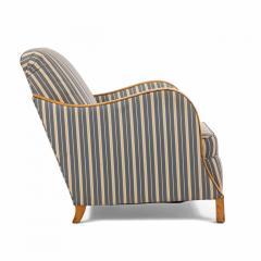 Pair of Swedish Biedermeier Striped Club Chairs - 1401730