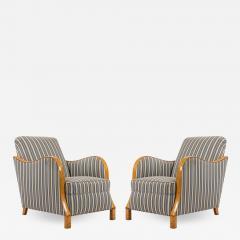 Pair of Swedish Biedermeier Striped Club Chairs - 1407593