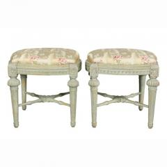 Pair of Swedish Neoclassic Painted Footstools - 1532658