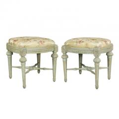 Pair of Swedish Neoclassic Painted Footstools - 1532665