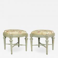 Pair of Swedish Neoclassic Painted Footstools - 1533675