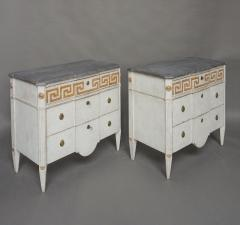 Pair of Swedish Neoclassical Commodes with Greek Key Detail - 606776