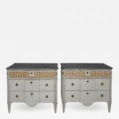 Pair of Swedish Neoclassical Commodes with Greek Key Detail - 607525