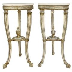Pair of Swedish Neoclassical Giltwood and Painted Torchere - 1532363