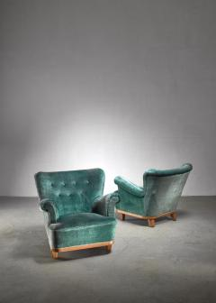 Pair of Swedish easy chairs 1940s - 1174633