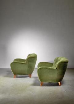 Pair of Swedish green easy chairs 1940s - 1119686