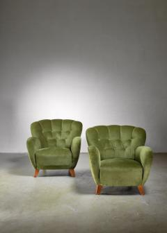 Pair of Swedish green easy chairs 1940s - 1119688