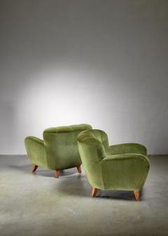 Pair of Swedish green easy chairs 1940s - 1119689