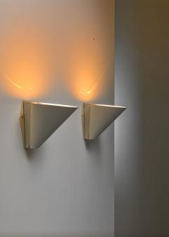 Pair of Swedish white metal wall lamps 1950s - 1138522