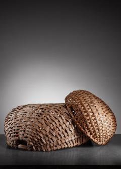 Pair of Swedish woven folk art baskets 19th century - 958453